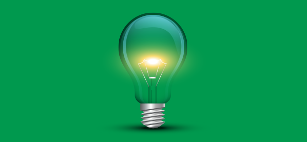 Lightbulb glowing image is prelude to 5 Great Energy Saving Lighting Tips blob article.