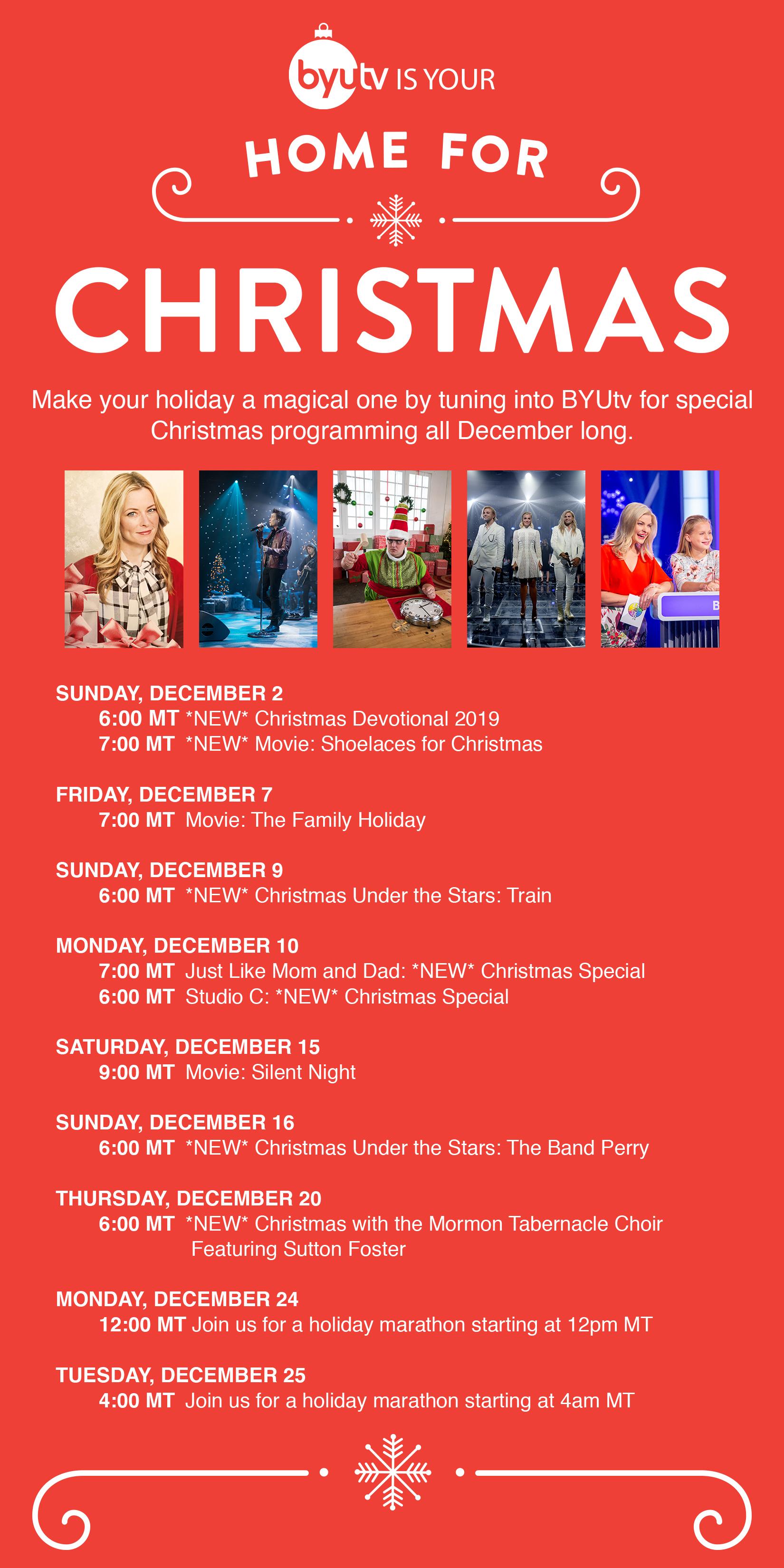 Shoelaces For Christmas.Byutv Christmas Schedule 2018 Byutv