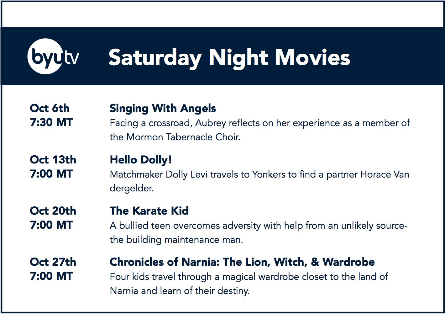 Family Movies in October - BYUtv