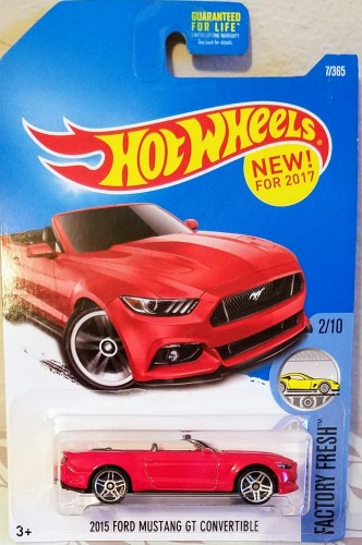 #2//10 2017 Hot Wheels Red Factory Fresh 2015 Ford Mustang GT Convertible