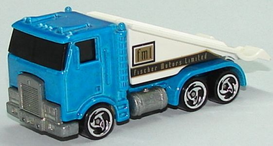 Model Name: Ramp Truck; Release Year: 1998; Series: Showroom Specials 5-Pack; Color: Light Metalflake Blue; Tampo: Gold And Black Fischer Motors Limited ...