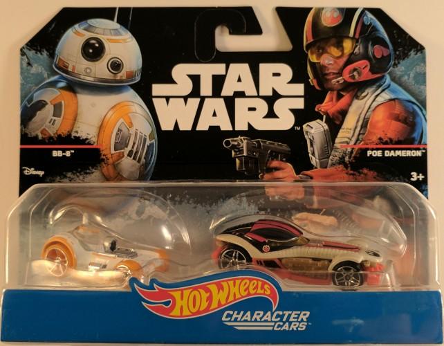 2 Pack Hot Wheels Star Wars Character Car BB-8 /& Poe Dameron