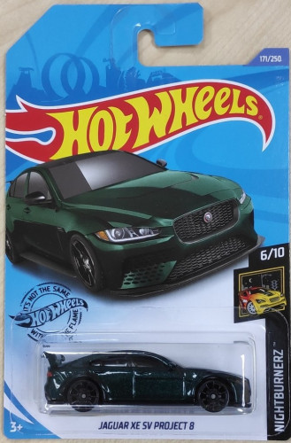 hotwheels Jaguar Xe Sv Project 8 Green 2020  nightburerz 6//10 card nbr--171//250