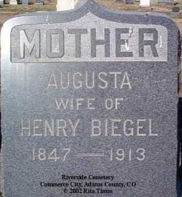 BIEGEL, AUGUSTA - Adams County, Colorado | AUGUSTA BIEGEL - Colorado Gravestone Photos