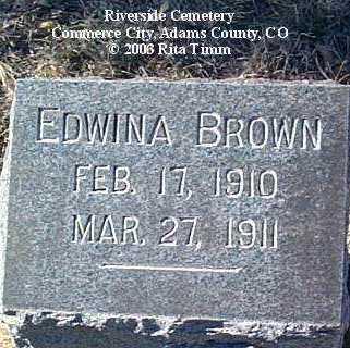 BROWN, EDWINA - Adams County, Colorado   EDWINA BROWN - Colorado Gravestone Photos