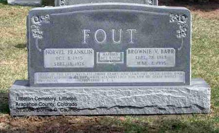 FOUT, NORVEL FRANKLIN - Arapahoe County, Colorado   NORVEL FRANKLIN FOUT - Colorado Gravestone Photos