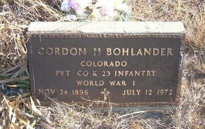 BOHLANDER (VETERAN WWI), GORDON H - Baca County, Colorado   GORDON H BOHLANDER (VETERAN WWI) - Colorado Gravestone Photos