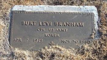 BRANHAM (VETERAN KOR), BURT LEVI - Baca County, Colorado   BURT LEVI BRANHAM (VETERAN KOR) - Colorado Gravestone Photos