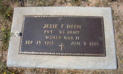 DEEN (VETERAN WWII), JESSE F - Baca County, Colorado | JESSE F DEEN (VETERAN WWII) - Colorado Gravestone Photos