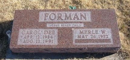 FORMAN, CAROL DEE - Baca County, Colorado | CAROL DEE FORMAN - Colorado Gravestone Photos
