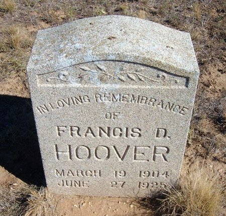 HOOVER, FRANCIS D - Baca County, Colorado | FRANCIS D HOOVER - Colorado Gravestone Photos