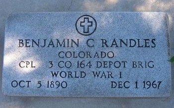RANDLES (VETERAN WWI), BENJAMIN C - Baca County, Colorado | BENJAMIN C RANDLES (VETERAN WWI) - Colorado Gravestone Photos