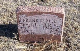 RICE, FRANK E - Baca County, Colorado | FRANK E RICE - Colorado Gravestone Photos