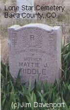 RIDDLE, MATTIE J. - Baca County, Colorado | MATTIE J. RIDDLE - Colorado Gravestone Photos