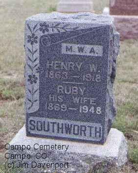 SOUTHWORTH, HENRY W. - Baca County, Colorado | HENRY W. SOUTHWORTH - Colorado Gravestone Photos