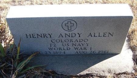 "ALLEN (VETERAN WWI), HENRY ANDREW ""ANDY"" - Bent County, Colorado   HENRY ANDREW ""ANDY"" ALLEN (VETERAN WWI) - Colorado Gravestone Photos"