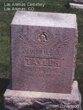 TAYLOR, MARSHALL A. - Bent County, Colorado   MARSHALL A. TAYLOR - Colorado Gravestone Photos