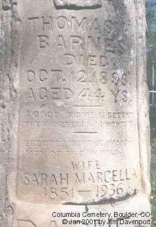 BARNES, MARCELLA - Boulder County, Colorado | MARCELLA BARNES - Colorado Gravestone Photos