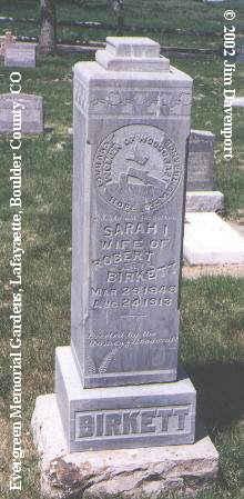 BIRKETT, SARAH I. - Boulder County, Colorado   SARAH I. BIRKETT - Colorado Gravestone Photos