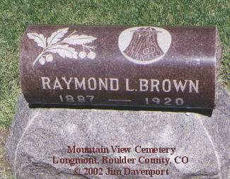 BROWN, RAYMOND L. - Boulder County, Colorado | RAYMOND L. BROWN - Colorado Gravestone Photos