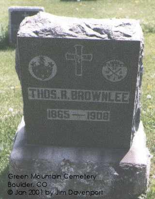 BROWNLEE, THOS R. - Boulder County, Colorado | THOS R. BROWNLEE - Colorado Gravestone Photos