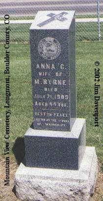BYRNE, ANNA C. - Boulder County, Colorado   ANNA C. BYRNE - Colorado Gravestone Photos