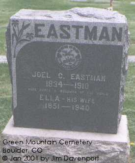 EASTMAN, JOEL C. - Boulder County, Colorado | JOEL C. EASTMAN - Colorado Gravestone Photos