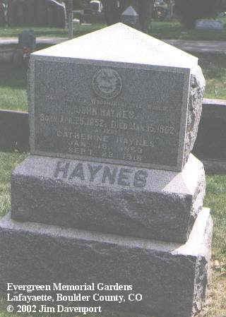 HAYNES, JOHN - Boulder County, Colorado | JOHN HAYNES - Colorado Gravestone Photos