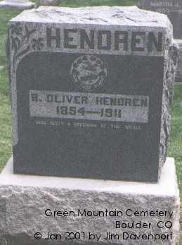 HENDREN, B. OLIVER - Boulder County, Colorado | B. OLIVER HENDREN - Colorado Gravestone Photos