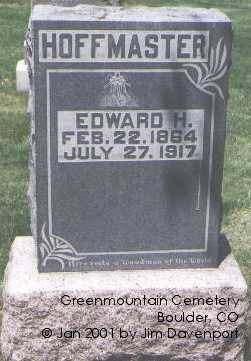 HOFFMASTER, EDWARD H. - Boulder County, Colorado | EDWARD H. HOFFMASTER - Colorado Gravestone Photos