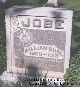JOBE, WILLIAM BURL - Boulder County, Colorado | WILLIAM BURL JOBE - Colorado Gravestone Photos