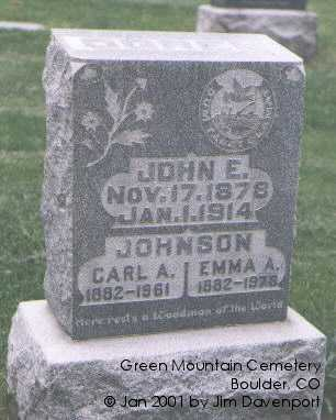 JOHNSON, CARL A. - Boulder County, Colorado | CARL A. JOHNSON - Colorado Gravestone Photos