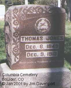 JONES, THOMAS - Boulder County, Colorado | THOMAS JONES - Colorado Gravestone Photos