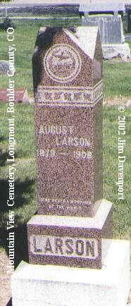 LARSON, AUGUST - Boulder County, Colorado   AUGUST LARSON - Colorado Gravestone Photos