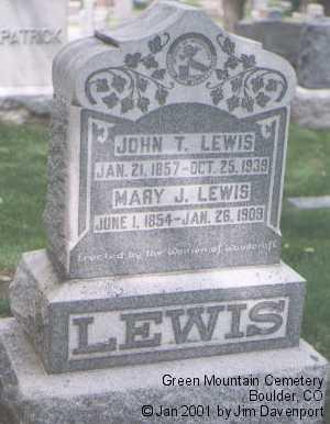 LEWIS, MARY J. - Boulder County, Colorado | MARY J. LEWIS - Colorado Gravestone Photos