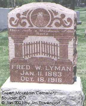 LYMAN, FRED W. - Boulder County, Colorado | FRED W. LYMAN - Colorado Gravestone Photos