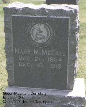 MCCAVE, MARY M. - Boulder County, Colorado | MARY M. MCCAVE - Colorado Gravestone Photos
