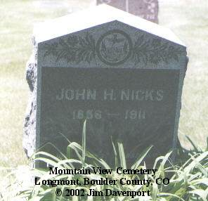 NICKS, JOHN H. - Boulder County, Colorado | JOHN H. NICKS - Colorado Gravestone Photos