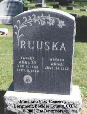 RUUSKA, AUGUST - Boulder County, Colorado | AUGUST RUUSKA - Colorado Gravestone Photos