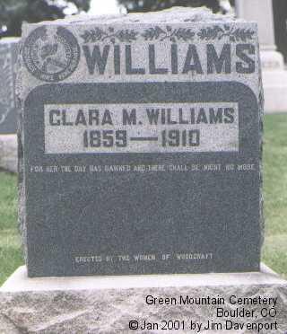 WILLIAMS, CLARA M. - Boulder County, Colorado | CLARA M. WILLIAMS - Colorado Gravestone Photos