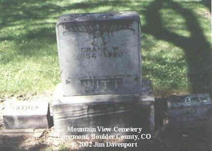WITT, FRANK W. - Boulder County, Colorado   FRANK W. WITT - Colorado Gravestone Photos