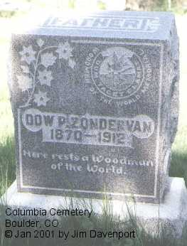 ZONDERVAN, DOW P. - Boulder County, Colorado | DOW P. ZONDERVAN - Colorado Gravestone Photos