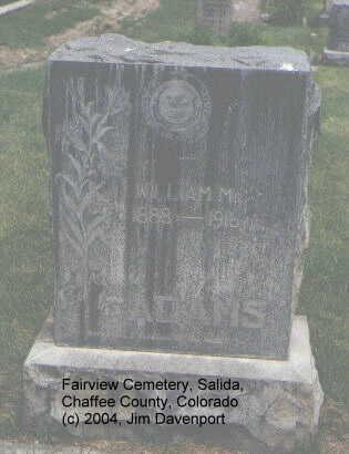 ADAMS, WILLIAM M. - Chaffee County, Colorado | WILLIAM M. ADAMS - Colorado Gravestone Photos