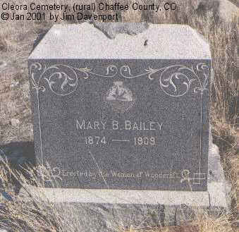 BAILEY, MARY B. - Chaffee County, Colorado | MARY B. BAILEY - Colorado Gravestone Photos