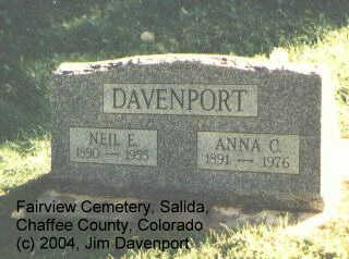 DAVENPORT, NEIL E. - Chaffee County, Colorado | NEIL E. DAVENPORT - Colorado Gravestone Photos