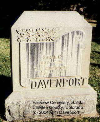 DAVENPORT, V. G. - Chaffee County, Colorado | V. G. DAVENPORT - Colorado Gravestone Photos