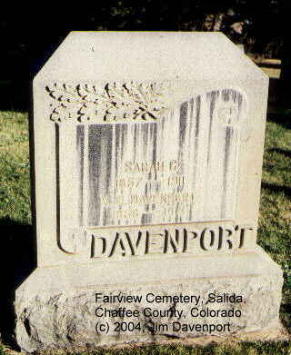 DAVENPORT, V. G. - Chaffee County, Colorado | V. G. DAVENPORT - Colorado Gravestone Photos