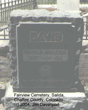DAVIS, WARREN MILLEDGE - Chaffee County, Colorado | WARREN MILLEDGE DAVIS - Colorado Gravestone Photos