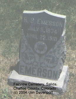 EMERSON, R.B. - Chaffee County, Colorado   R.B. EMERSON - Colorado Gravestone Photos