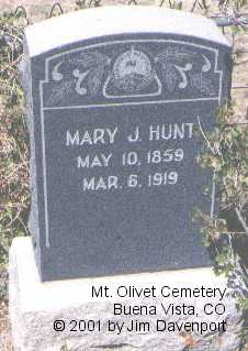 HUNT, MARY J. - Chaffee County, Colorado | MARY J. HUNT - Colorado Gravestone Photos